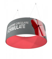 Enseigne suspendue textile circulaire 1500 (h) x 3000 (Ø) mm